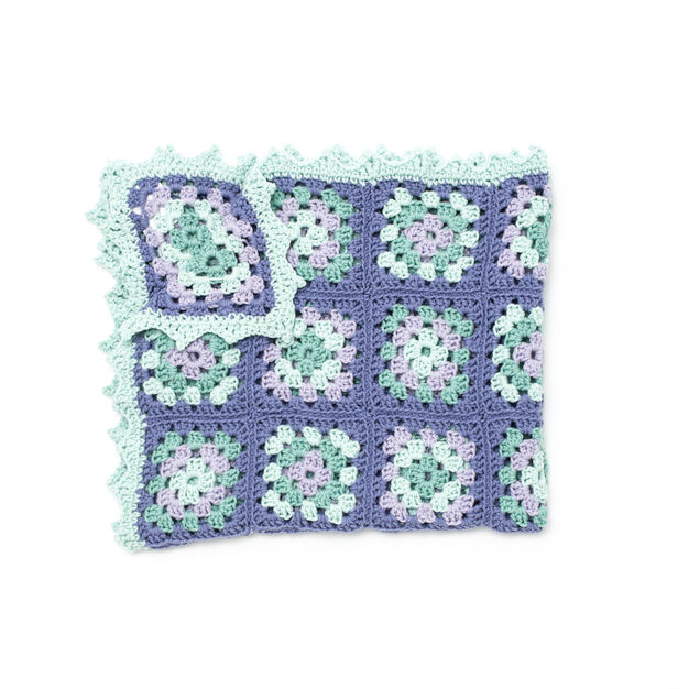 Caron Lullaby Granny Square Baby Blanket in color