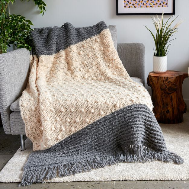 Bernat Crochet Bobble Pop Blanket and Pillow in color