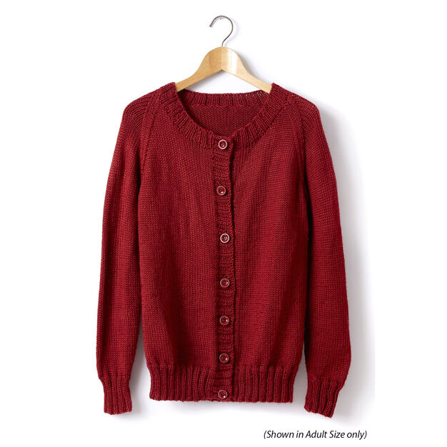 Caron Child's Knit Crew Neck Cardigan, Size 2
