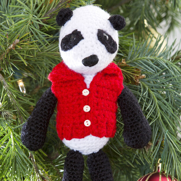 Red Heart Vested Panda Ornament in color