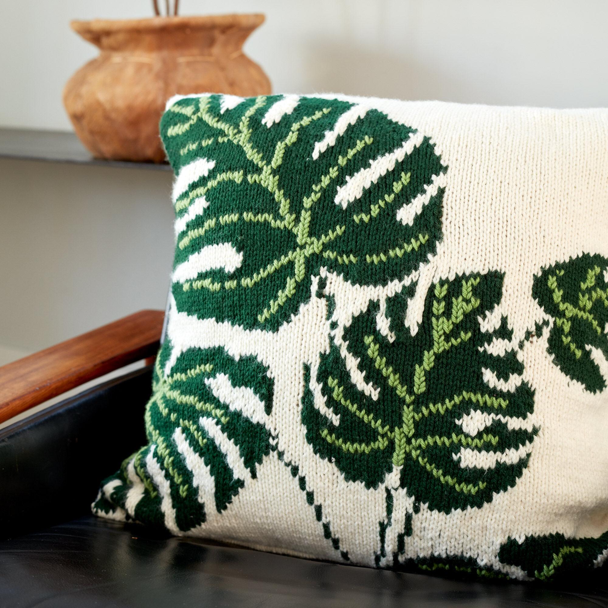 Bernat Tropical Leaf Knit Pillow Pattern | Yarnspirations