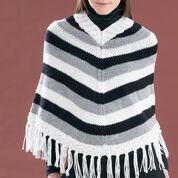 Bernat Striped V-Neck Poncho, XS-M