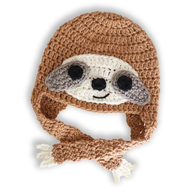 Bernat Crochet Sloth Hat in color