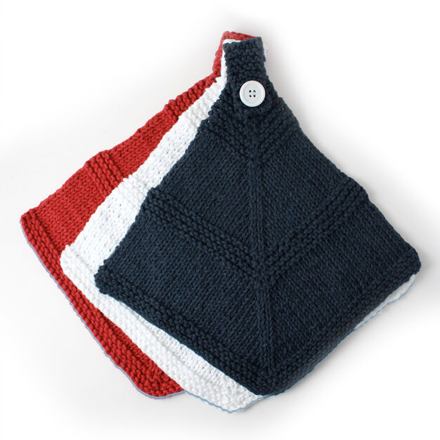 Lily Sugar'n Cream Red White and Blue Dishcloth in color