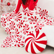 Red Heart Peppermint Throw and Pillow
