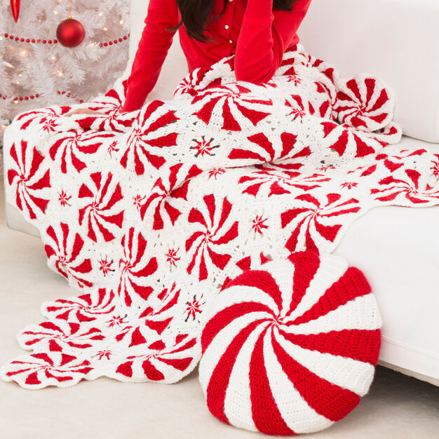 Red Heart Peppermint Throw and Pillow | Yarnspirations