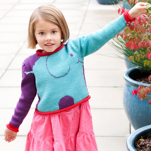Red Heart Snuffle Pullover, 2 yrs in color