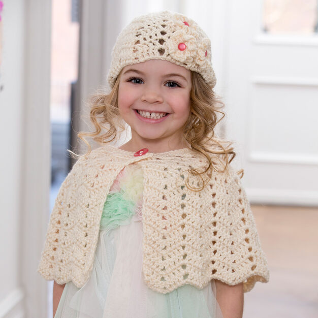 Red Heart Ripple Hat and Capelet, 2 yrs in color