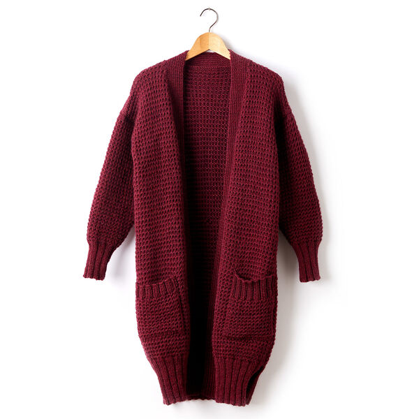 Free Pattern: Patons Long Weekend Knit Cardigan in Patons Classic Wool Worsted yarn