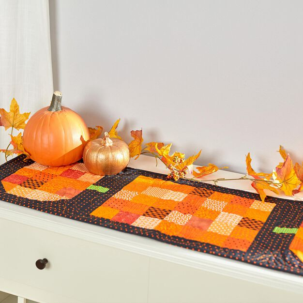 Dual Duty Halloween Table Runner- patchwork pumpkin in color