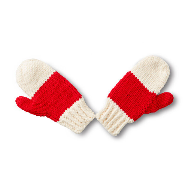 Bernat State Your Nation Knit Mittens, 2 Color in color