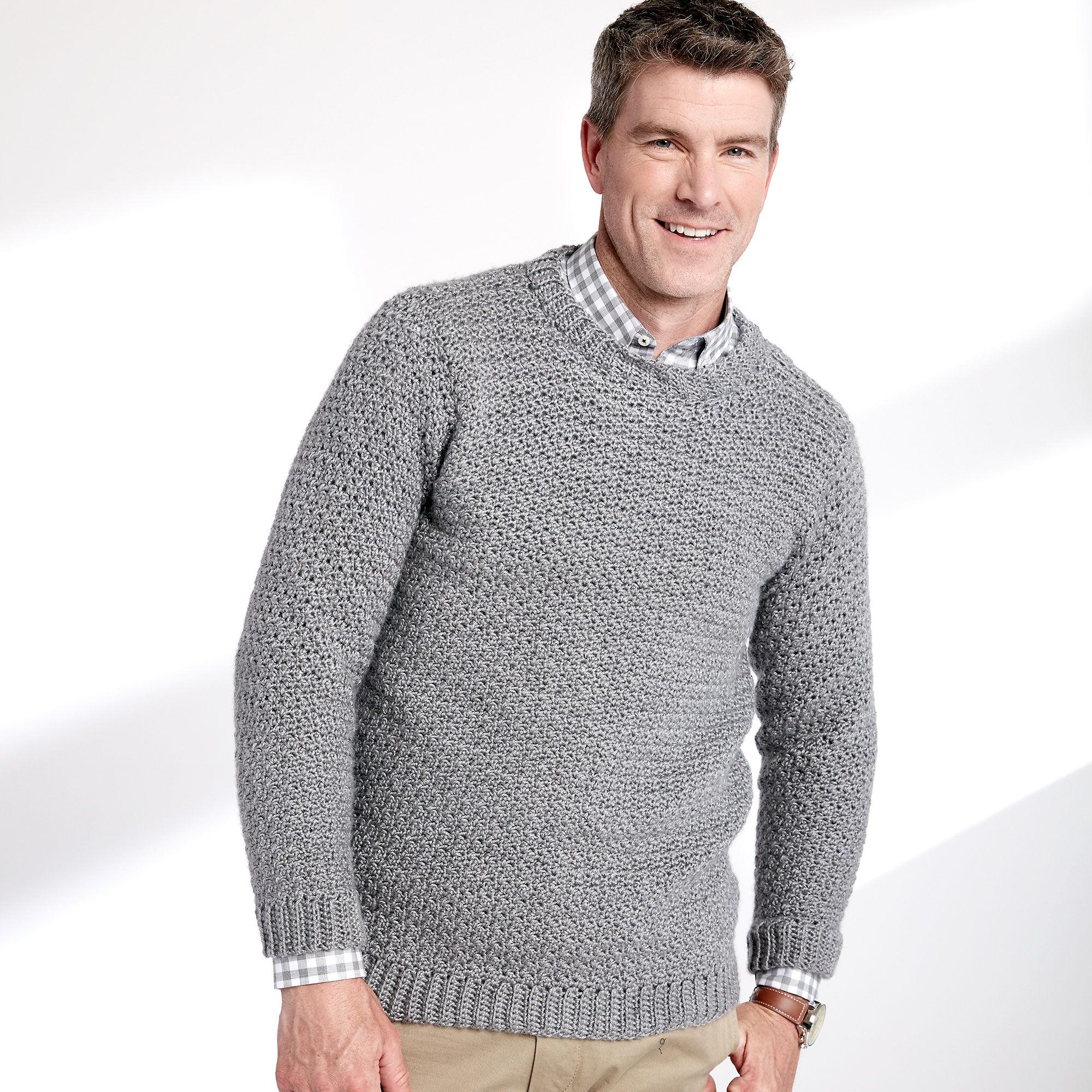 Caron Adult Crochet Crew Neck Pullover, XS/S | Yarnspirations