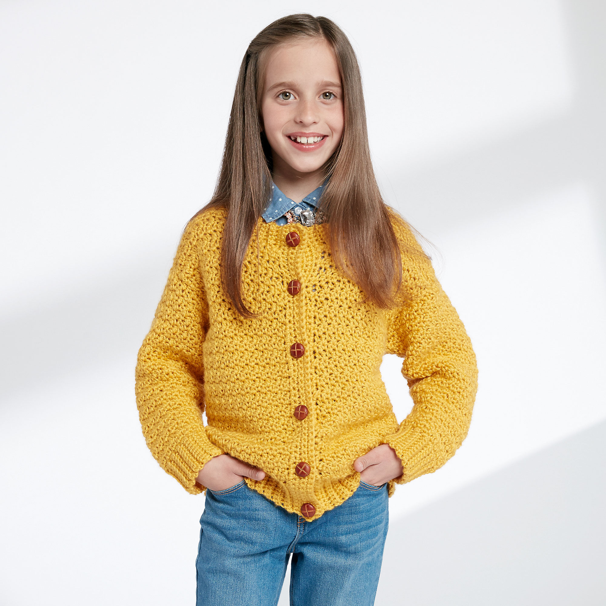 Caron Childs Crochet Crew Neck Cardigan Grey Heather Size 2