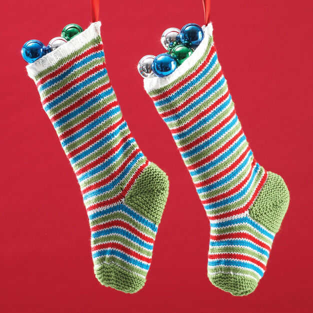 Bernat Jolly Striped Stockings in color