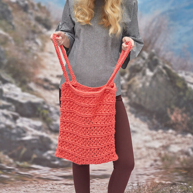 Red Heart Breezy Knit Market Bag in color
