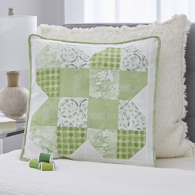 Dual Duty Subtly Shamrock Patchwork Pillow