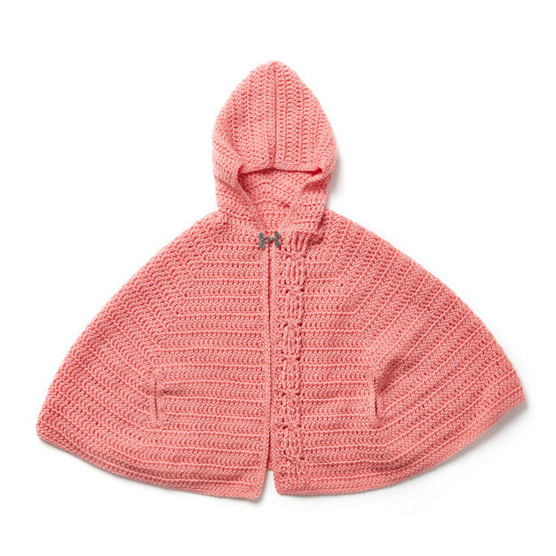 Red Heart Girl's Chic Hooded Capelet, 12 mos