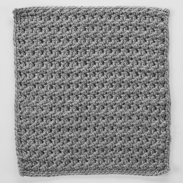 Red Heart Double Crochet & Slip Stitch Square for Checkerboard Textures Throw in color