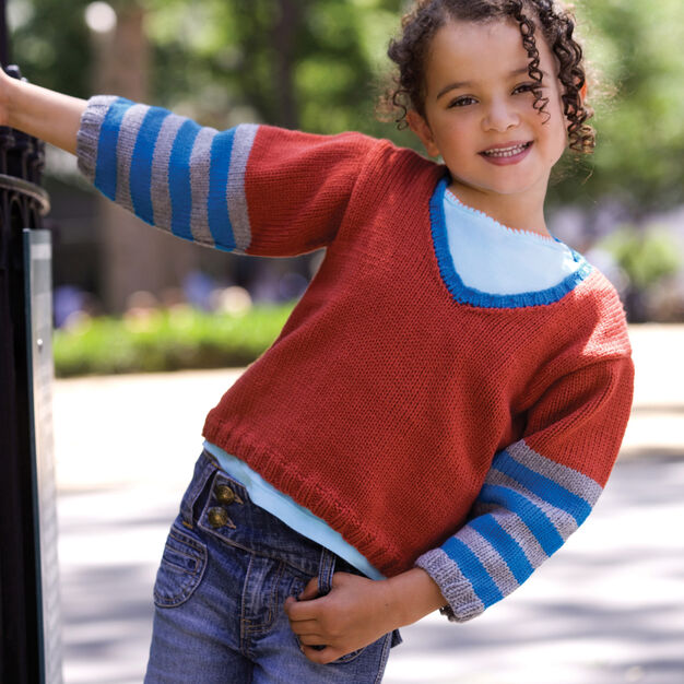 Red Heart Kid's Knit V-Neck Sweater, 2 yrs in color