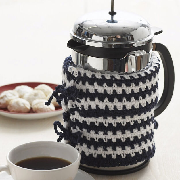 Lily Sugar'n Cream Basic Striped French Press Cozy in color