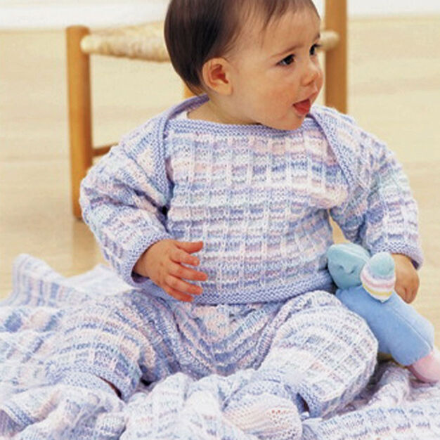 Patons Soft Shades Layette Set, Pullover & Pants - 3 mos in color