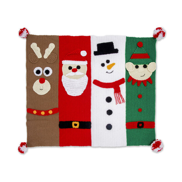 Christmas Characters Crochet Blanket in color
