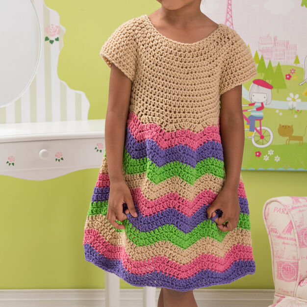 Red Heart Child's Chevron Dress, 2 yrs in color