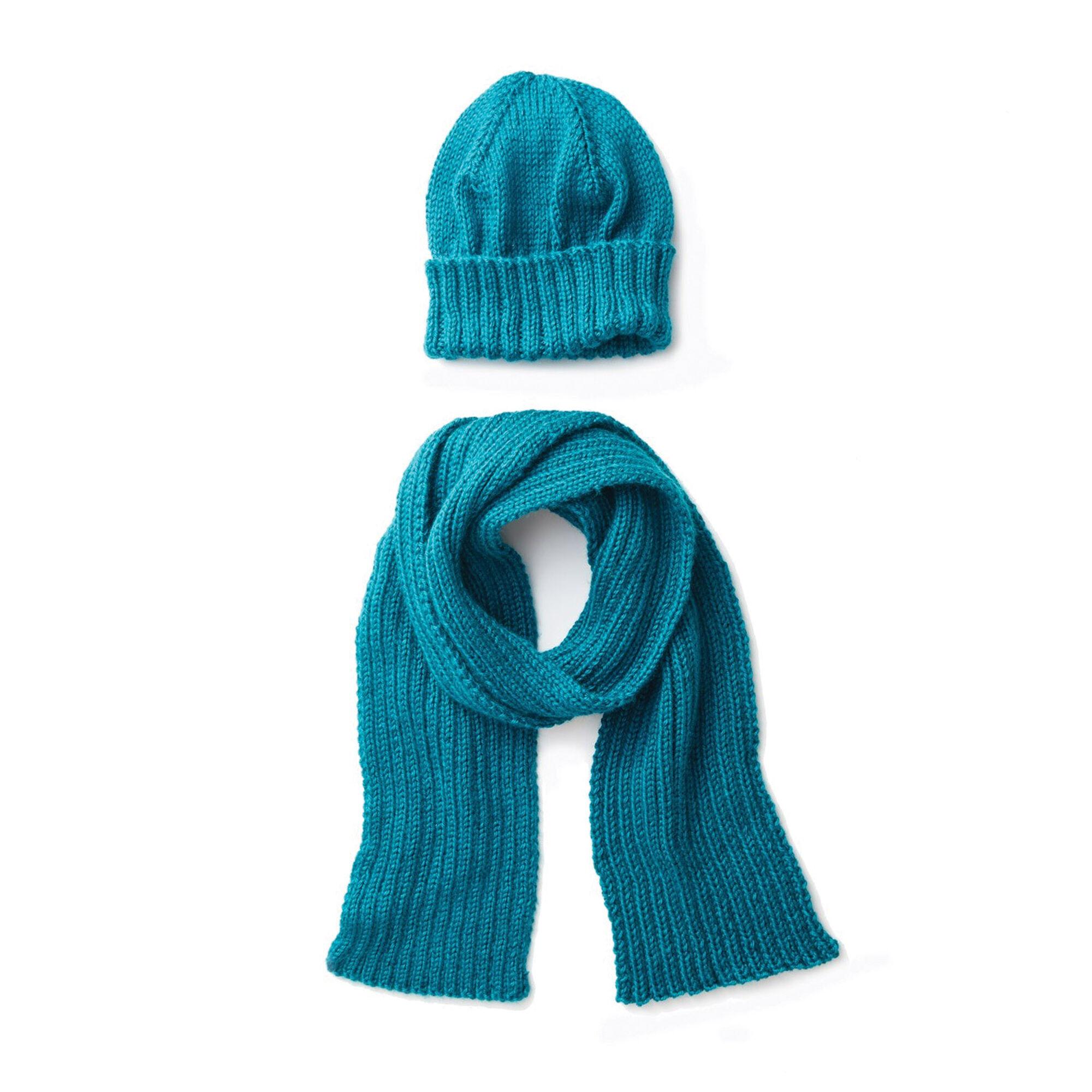 Caron Men S Basic Hat And Scarf Knit Set Hat Yarnspirations