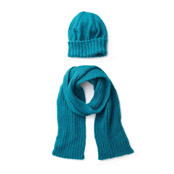 Free Pattern: Caron Men's Basic Hat and Scarf Knit Set, Hat