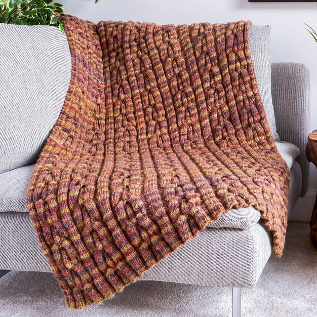Bernat Cable Texture Knit Blanket in color
