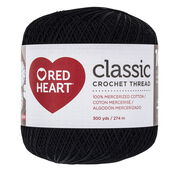 Red Heart Classic Crochet Thread Size 10, Black