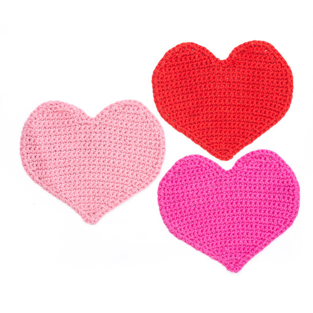 Lily Sugar'n Cream Lots of Love Crochet Dishcloth, Hot Pink in color