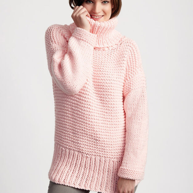 Bernat Big Box Knit Pullover, XS/S in color