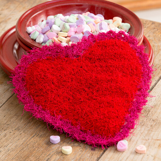 Red Heart Valentine Scrubby in color