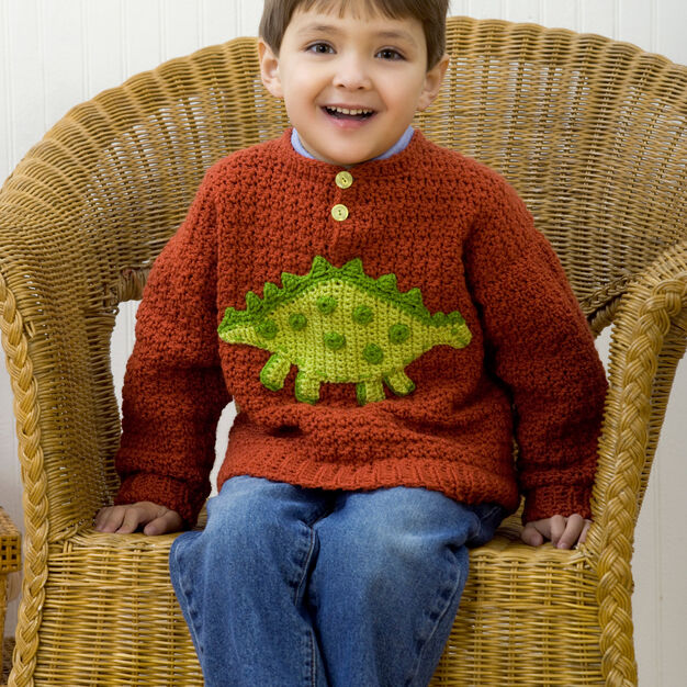 Red Heart Boy's Dino Sweater, 2 yrs in color