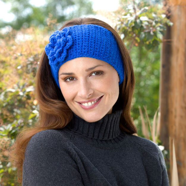 Red Heart Crochet Flower Headband