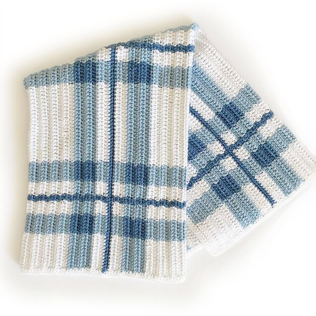 Caron Blue Plaid Crochet Baby Blanket in color