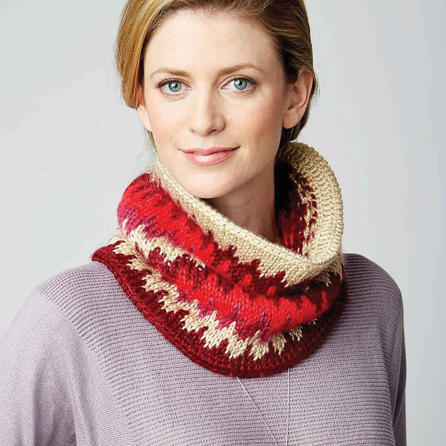 Caron Tunisian Fair Isle Cowl in color