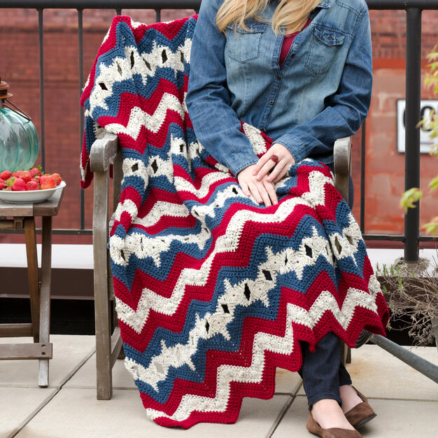 Red Heart Stars & Stripes Ripple Throw in color