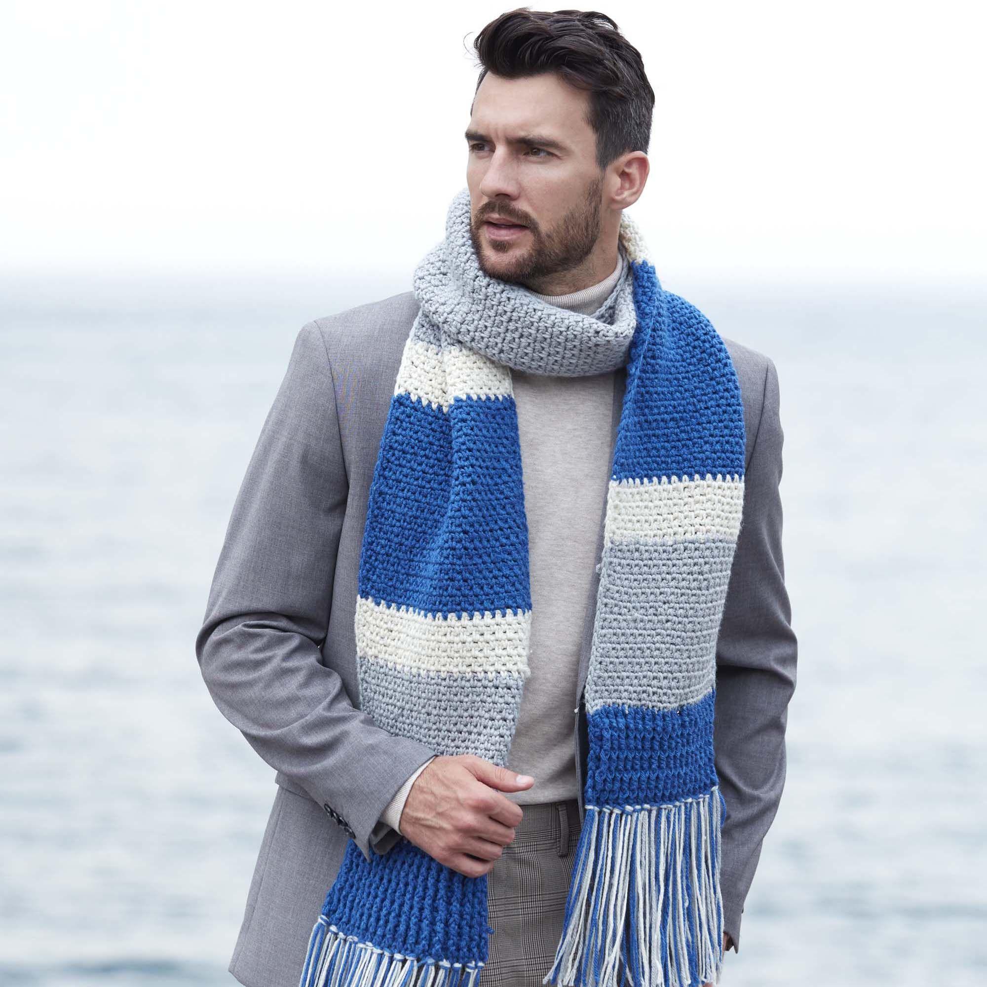 Red Heart Classic Crochet Striped Scarf | Yarnspirations