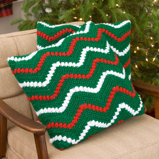 Red Heart Christmas Ripple Pillows in color