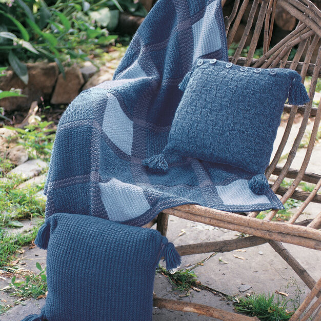 Patons Denim Plaid Blanket and Pillows