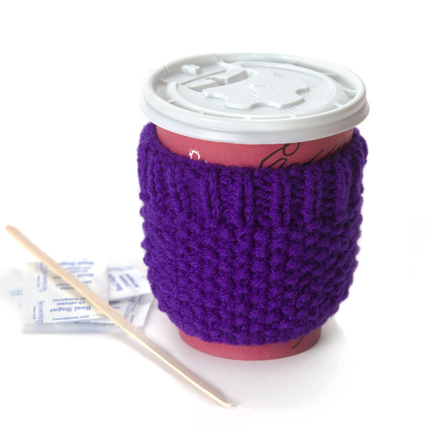 Red Heart Cup Cozy in color