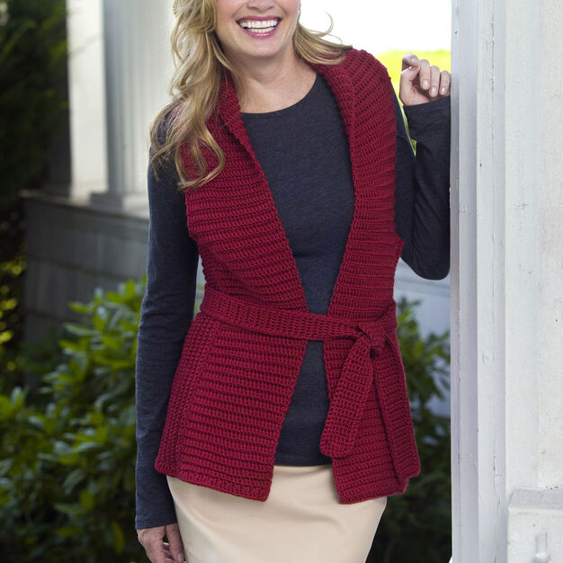 Red Heart Bamboo Vest, S in color