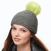 Bernat Garter Stitch Pompom Hat
