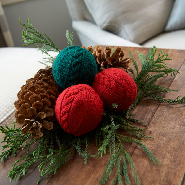Red Heart Cabled Holiday Balls