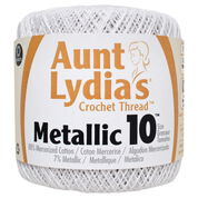 Aunt Lydia's Metallic Crochet Thread Size 10, White/Pearl