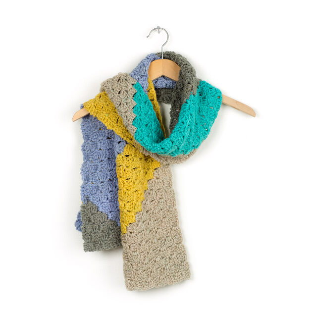 Caron on the Bias Crochet Scarf Pattern | Yarnspirations ...