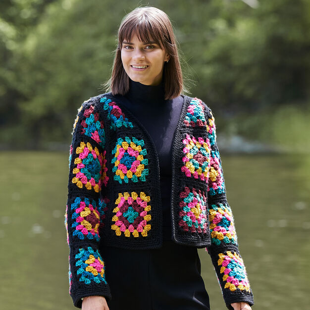 Red Heart Granny Square Jacket, XS/S in color  Large Main Image 2