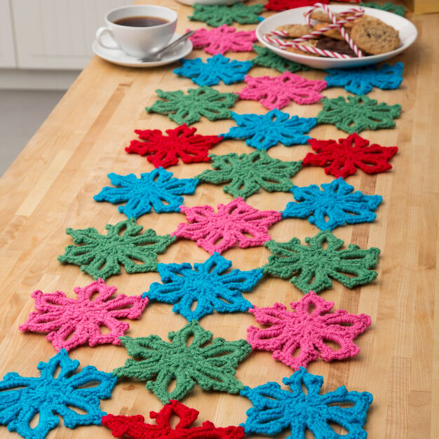 Red Heart Snowflake Table Runner in color